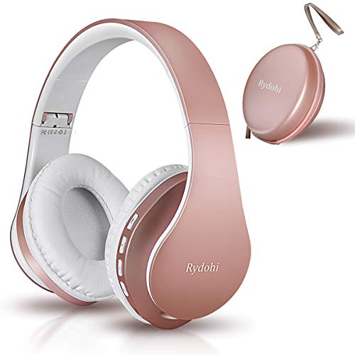 Bluetooth Headphones Over Ear, Rydohi Foldable Wireless and Wired Stereo Headset with Built-in Mic, Micro SD/TF, FM Radio, Soft Earmuffs & Light Weight for Cell Phone PC TV Travel (Rose Gold)