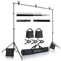 Julius Studio Premium Photo & Video 10 ft. Wide Backdrop Stand (119 x 86 inch) Background Support System Kit with Spring…