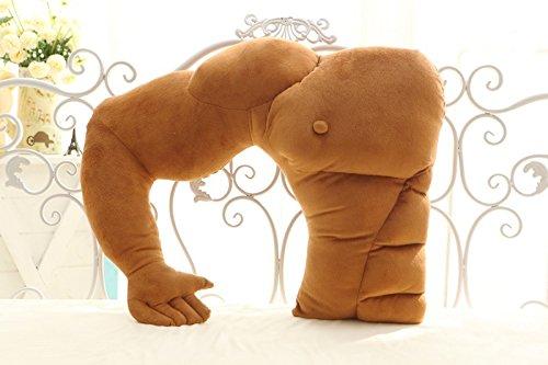 Missley Boyfriend Muscle Man Body Arm Plush Cotton Pillow Fashion Arm Plush Toy for Girls Kids (Brown)