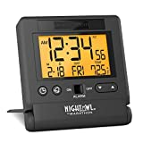 Marathon CL030036BK Atomic Travel Alarm Clock with Auto Back Light Feature, Calendar and Temperature. Folds into One Compact Unit for Travel. Batteries Included. Color-Black.