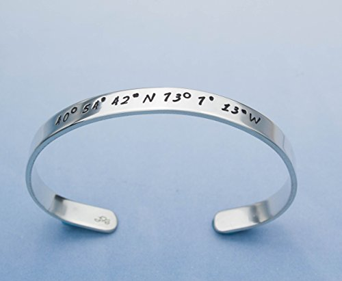 hand gift brass latitude personalized location longitude meaningful stamped cuff gps product copper aluminum jewelry coordinates bracelet or