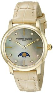 Frederique Constant Women's FC206MPWD1S5 Analog Display Swiss Quartz Beige Watch