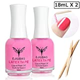 Liquid Latex for Nails - Ejiubas Peel Off Latex Tape Nail Polish Barrier Cuticle Guard Mess Skin Barrier for Manicure & Pedicure with 10pcs Wooden Sticks
