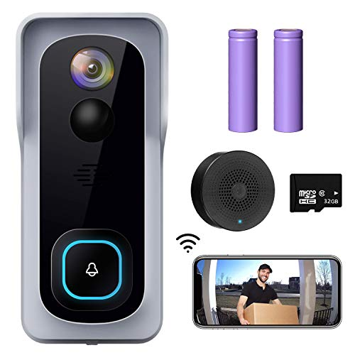 WiFi-Video-Doorbell-Camera-XTU-Wireless-Doorbell-Camera-with-Chime-1080P-HD-2-Way-Audio-Motion-Detection-IP65-Waterproof-Cloud-Storage-and-32GB-SD-Card-Included
