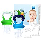 Baby Fruit Feeder Pacifier (2 Pack) - Bestwin Infant Teething Toy Teether in Appetite Stimulating Colors, Bonus Includes 3 Sizes Silicone Pouches