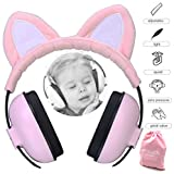 Baby Ear Protection for Kids for 3 Months to 2+ Years Noise Cancelling Ear Muffs for Infant and Toddlers with Cat Ear. (Pink)