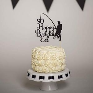Personalised Fishing Cake Topper Male Birthday Cake Topper 4166Ibd3vbL