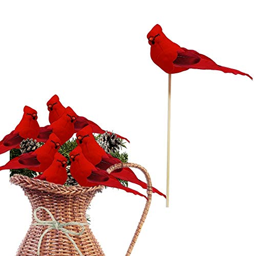 Red Cardinal Birds on a Wooden Stick - Cardinal Floral Picks - Set of 12 Birds Attached to Stems - Red Birds Centerpieces - Christmas DIY - Ornament Holiday Décor