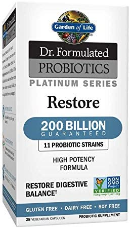 Garden of Life Dr. Formulated Probiotics Platinum Series Restore 200 Billion CFU Guaranteed, High Potency Probiotic Formula, Vegan, Non-GMO, Gluten, Dairy Free Digestive Immune Support, 28 Capsules 1