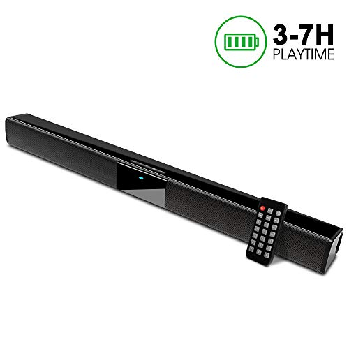 Soundbar, GooDee 22-Inch Speaker for TV Sound bar 2.0 Channel Wired & Wireless Bluetooth with Built-in Batteries, Best for Indoor Outdoor Use