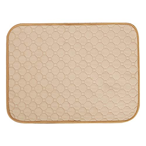 Yooha Reusable Pet Urine Mat, Waterproof Leak Proof Fast Absorbent Training Urine Pee Pad Diapers with Anti-Slip Backing for Small Dogs Puppy - Machine Washable(S,Beige)