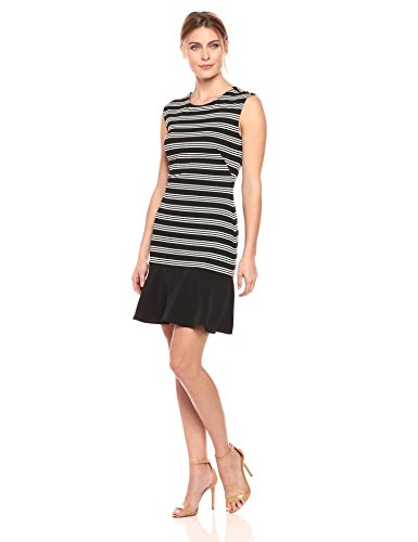 "416Ku9yfT4L Sleeveless sheath dress with subtle ruffle at hem Crew neck, concealed back zipper Model is 5'8.5"" and is wearing a size Small."