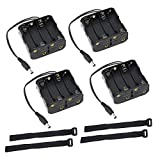 abcGoodefg 4 Pack 8 x AA 12V Battery Holder Case Plastic Battery Storage Box with DC Plug And Strap