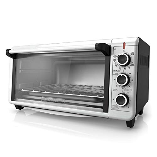 BLACK+DECKER TO3240XSBD 8-Slice Extra Wide Convection Countertop Toaster Oven, Includes Bake Pan, Broil Rack & Toasting Rack, Stainless Steel/Black Convection Toaster Oven