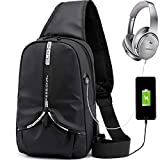 Sling Backpack for Men, Lightweight Sling Bag, Waterproof, Crease-Proof, Breathable and Multifunctional Sling Backpacks with Hidden Water Cup Pocket, Mini Backpack for Outdoor Activities and Travel