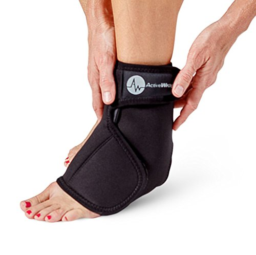 ACTIVEWRAP Ankle Foot Heat or Ice Compression Support for Foot Injury - Size Small/Medium Treatment Wrap for Sprained Ankle, Planters Fasciitis Pain Inflammation - Reusable Hot/Cold Gel Packs Included
