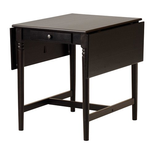 Ikea INGATORP,Drop-leaf table, black-brown