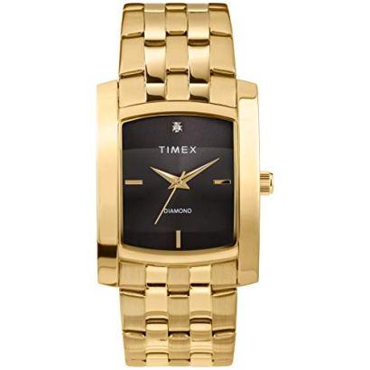 Timex Men's Dress Analog 33mm Stainless Steel Bracelet Watch with Genuine Diamond