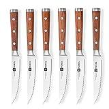 Steak Knives Set of 6 or 12 - Stainless Steel Serrated Steak Knife Set - German Steel Blade Natural Rosewood Full Tang Handle - Steak Knifes Gift Box Set - Not Dishwasher Safe