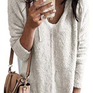 WSPLYSPJY Women V Neck Sweatshirts Fleece Fuzzy Loose Pullover Sweater Tops