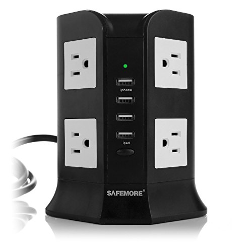 SAFEMORE USB Power Strip 8-Outlet and 4 Smart USB Output Charging Station (Black and White)