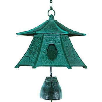 Japanese Cast Iron Green Lantern with Owl Bell Nambu Furin Wind Chime, Made in Japan