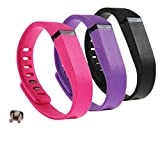 DingTool 3PCS Replacement Bands with Clasps Armband Wrist Bracelet for Fitbit Flex Wireless Activity Bracelet Sport Wristband Fit Bit Flex Bracelet Sport Arm Band (PK+PP+BK, Small)