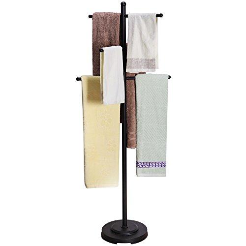 Modern Heavy Duty Black Metal Floor Freestanding 6 Towel Bars Bathroom Rack / Drying Stand / Towel Valet