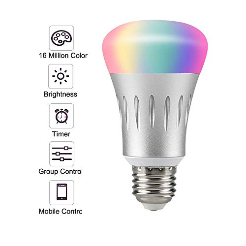 Smart Light Bulb,LED WiFi Light Bulbs,Dimmable Multicolored LED Light Bulbs,Smartphone Controlled Daylight & Night Light,Works with Google Assistant/IFTTT,7W Home Lighting, E27 Base