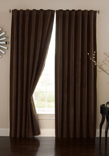 ABSOLUTE ZERO Blackout Curtains for Bedroom - Velvet 50' x 95' Insulated Darkening Single Panel Rod Pocket Window Treatment Living Room, Chocolate