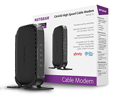 NETGEAR DOCSIS 3.0 340Mbps Cable Modem for XFINITY, Time Warner, Spectrum Cable, Cox, Charter, Cablevision (CM400-1AZNAS)