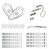 Eyeglass Repair Kit, Micro Eyeglass Sunglass Spectacles Watch Tiny Screws Nut Stainless Steel Screws, Screwdriver, Tweezers