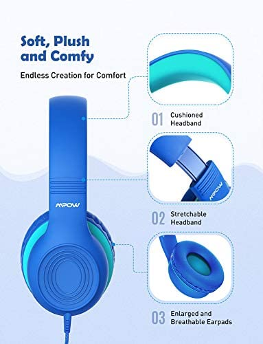 Mpow CH6S Kids Headphones with Microphone Over Ear, On Ear Headphones for Kids with HD Sound Sharing Function for Children Boys Girls, Volume Limit Safe 85dB,94dB Headset for School, Travel 16