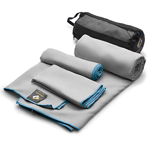 Set of 3 Microfiber Towels Fast Drying Gray Travel Backpacking Yoga Swimming Sports Fitness Exercise Gym Body Face Sweat Towel - Absorbent Swim Shower Bath Pool Antibacterial Camping Foot Day Pack