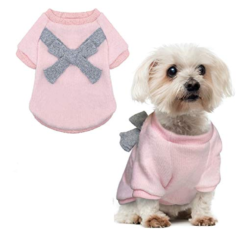 QY Pet Small Dog Coats Cat Clothes Jacket Sweater Winter Acessories Bow Knot Brushed Warm Pink Light Grey 1