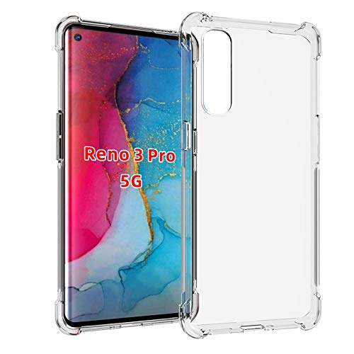 Prime Retail Dual Layer Bump Side Air Cushion Ultra Light Slim Shockproof Silicone Back Case Cover for Oppo Reno 3 Pro - Transparent 78