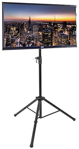 VIVO Black Tripod 32' to 55' LCD LED Flat Screen TV Display Floor Stand | Portable Height Adjustable Mount (STAND-TV55T)