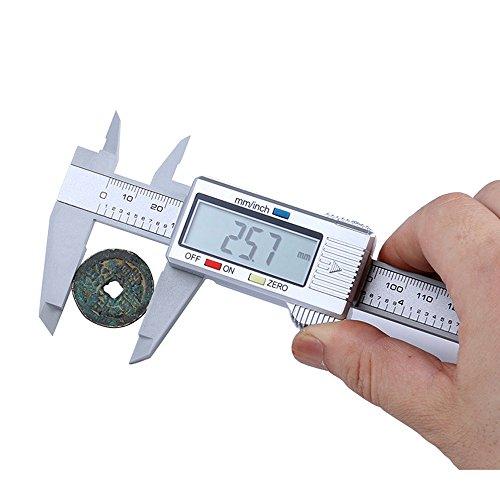 LiPing 6 Inch/150 Millimeter Conversion LCD Digital Electronic Carbon Fiber Vernier Caliper Gauge Micrometer Carbon Fiber Body Caliber Measuring Tool Gauge Micrometer (25x 8 x 1.5cm)