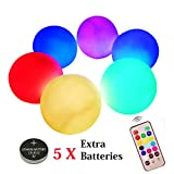 FunieToys Floating Pool Lights, 3.1' IP68 Waterproof LED Pool Balls, Pack of 6 Color Changing Hangable Glow Ball Battery Operated with Remote Control, Pefect for Pool\Pond\Party\Garden Decoration