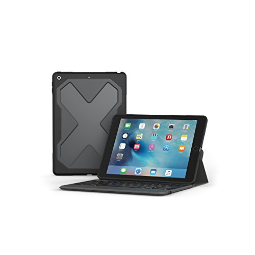 ZAGG - Rugged Messenger - Backlit Case and Bluetooth Keyboard - Compatible with 2018 (G6) and 2017 (G5) Apple iPad 9.7' - Durable Case with Built-In Stand - Multiple-Device Pairing - Black