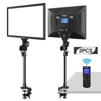 "Dazzne Desk Mount LED Video Light C-Clamp Stand Kit 2 Pack 15.4"" Large Panel 3000K-8000K 45W 3600LM Dimmable 0-100% Brightness Soft Light for YouTube Game Video Shooting Live Stream Photography"