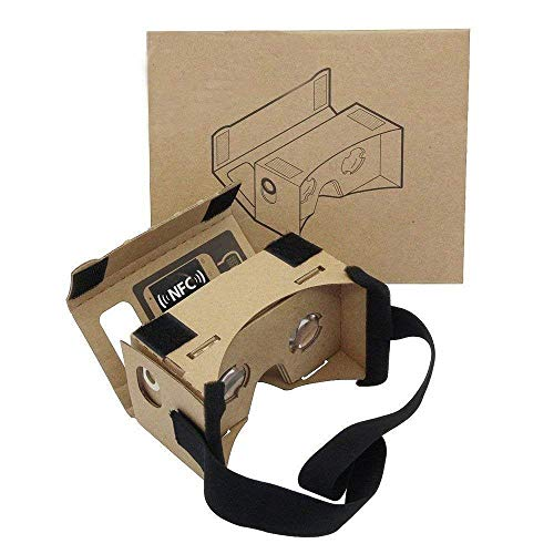 Google Cardboard,Virtual Real Store 3D VR Headsets Virtual Reality Glasses Box with Clear 3D Optical Lens and DIY Comfortable Head Strap Nose Pad for All 3-6 Inch Smartphones ... (1 Pack)