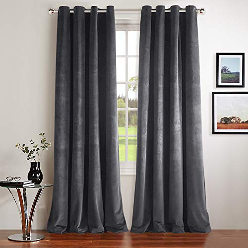 NICETOWN Thermal Insulated Velvet Blackout Curtains - Classic Velvet Woven Home Theater Grommet Top Blackout Drapes (2 Panels, W52xL84-inch, Grey)
