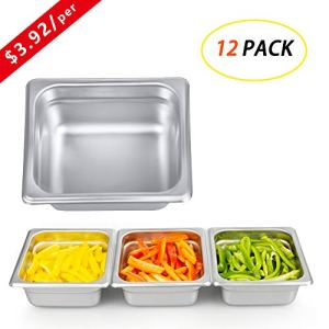 7 Inch Square Stainless Steel Cake Pan, Kitma Bakeware – 1/6 Size Hotel Steam Solid Pans (12 Pack) 416vq5Ihp2L