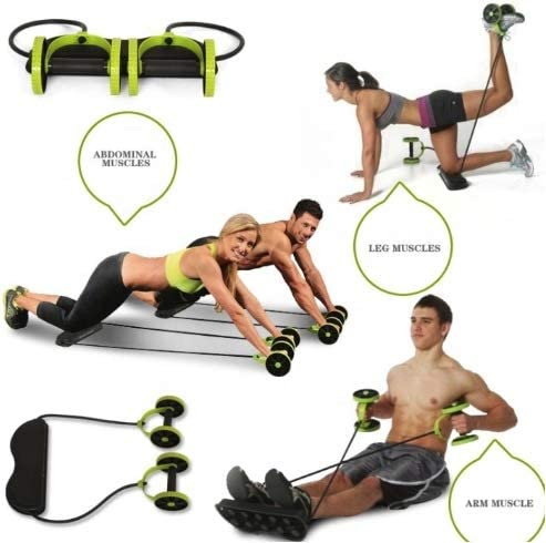 Tofreedomwind Abdominal Multifunctional Exercise Equipment Ab Wheel Double Roller with Resistance Bands/Knee mat Waist Slimming Trainer at Home Gym 9