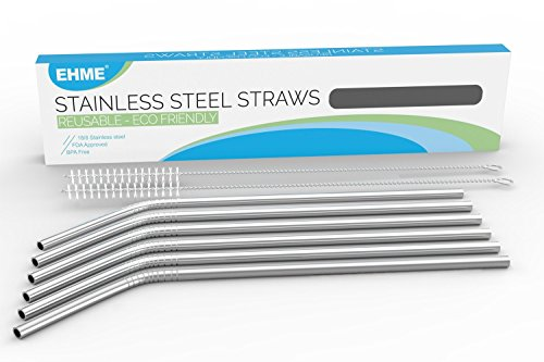 89c766b598f 16 Pack Stainless Steel Drinking Straws - Metal Reusable Straws for ...