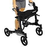 Folding Rollator Walker by Vive - 4 Wheel Medical Rolling Walker with Seat & Bag - Mobility Aid for...