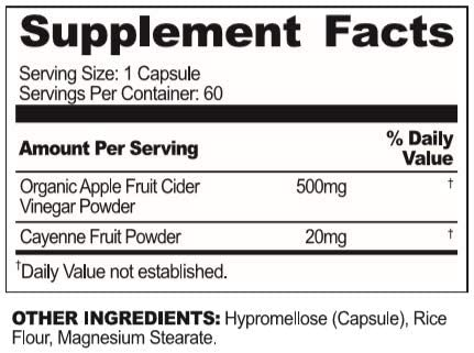 USN Vibrance Series Apple Cider Vinegar Supplement Capsules with Cayenne Pepper & Fermented Apple Cider Vinegar for Immune Support & Gut Health- 60 Veggie Capsules (Pack of 1) 2
