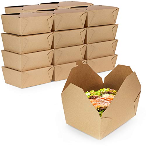 [160 Pack] 110 oz Paper Take Out Containers 8.8 x 6.5 x 3.5″ – Kraft Lunch Meal Food Boxes #4, Disposable Storage to Go Packaging, Microwave Safe, Leak Grease Resistant for Restaurant and Catering