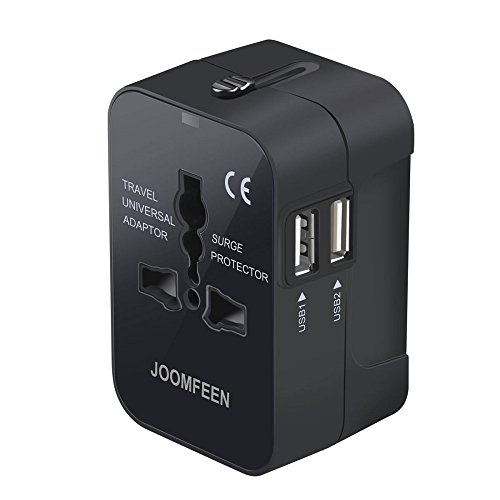 JOOMFEEN Travel Adapter, Worldwide All in One Universal Power Wall Charger AC Power Plug Adapter with Dual USB Charging Ports for USA EU UK AUS Cell Phone Laptop (Black)